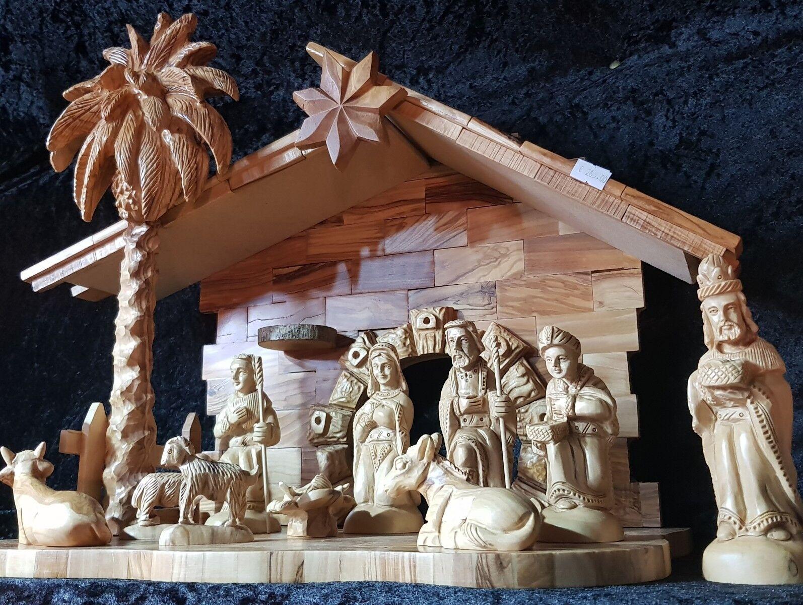 Unique Nativity Set art (11 personnages sculpté 17 cm).. avec la maison (écuries)