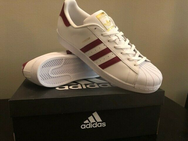 Adidas Mens Superstar Foundation White Burg Leather Trainers 13 US - Brand New