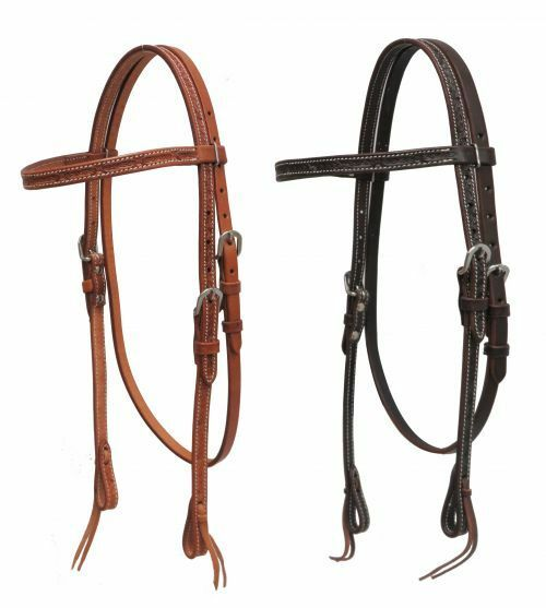 Showman   silverina cow leather headstall with barbed wire tooling
