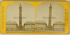 Parigi-Colonna-Vendome-Francia-Foto-Stereo-PL55L1n-Vintage-Albumina-c1870
