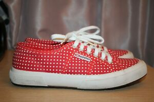 SUPERGA-2750-COTU-Classic-Red-Polka-Dots-Canvas-Sneaker-Women-039-s-US-Size-8-5