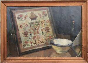 Oil-Painting-Still-Life-monogrammiert-schusssel-Bottle-Picture-Panel-46-x-63-cm