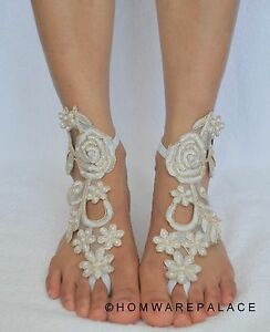 3e075228f4fc Image is loading Ivory-Bridal-Lace-Barefoot-Sandals-Beach-Wedding-Summer-