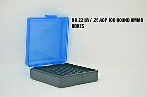 5 BLUE 100 Round 22 LR//.25 ACP BERRY/'S PLASTIC AMMO BOX