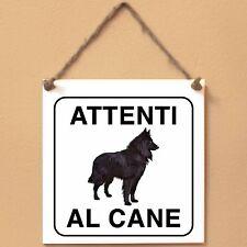 Groenendael Pastore belga 4 Attenti al cane Targa cane cartello ceramic tiles