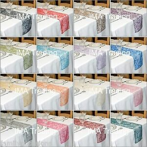 Image Is Loading Flocked Organza Table Runner 280 Cm Long X