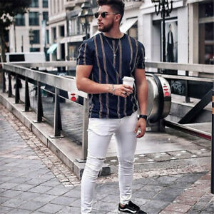Men-Summer-Beach-T-Shirts-Casual-Striped-Blouse-Short-O-neck-Loose-Top-Plus-Size