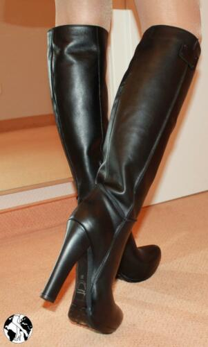 Kniestiefel Stiefel In Exklusiv Absatz High Heels Made Line 40 Gr Italy Leder 4PxYW