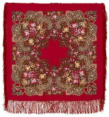 Pawlow Posad russischer Schal-Tuch Folklore Tradition 89x89 Wolle 779-5