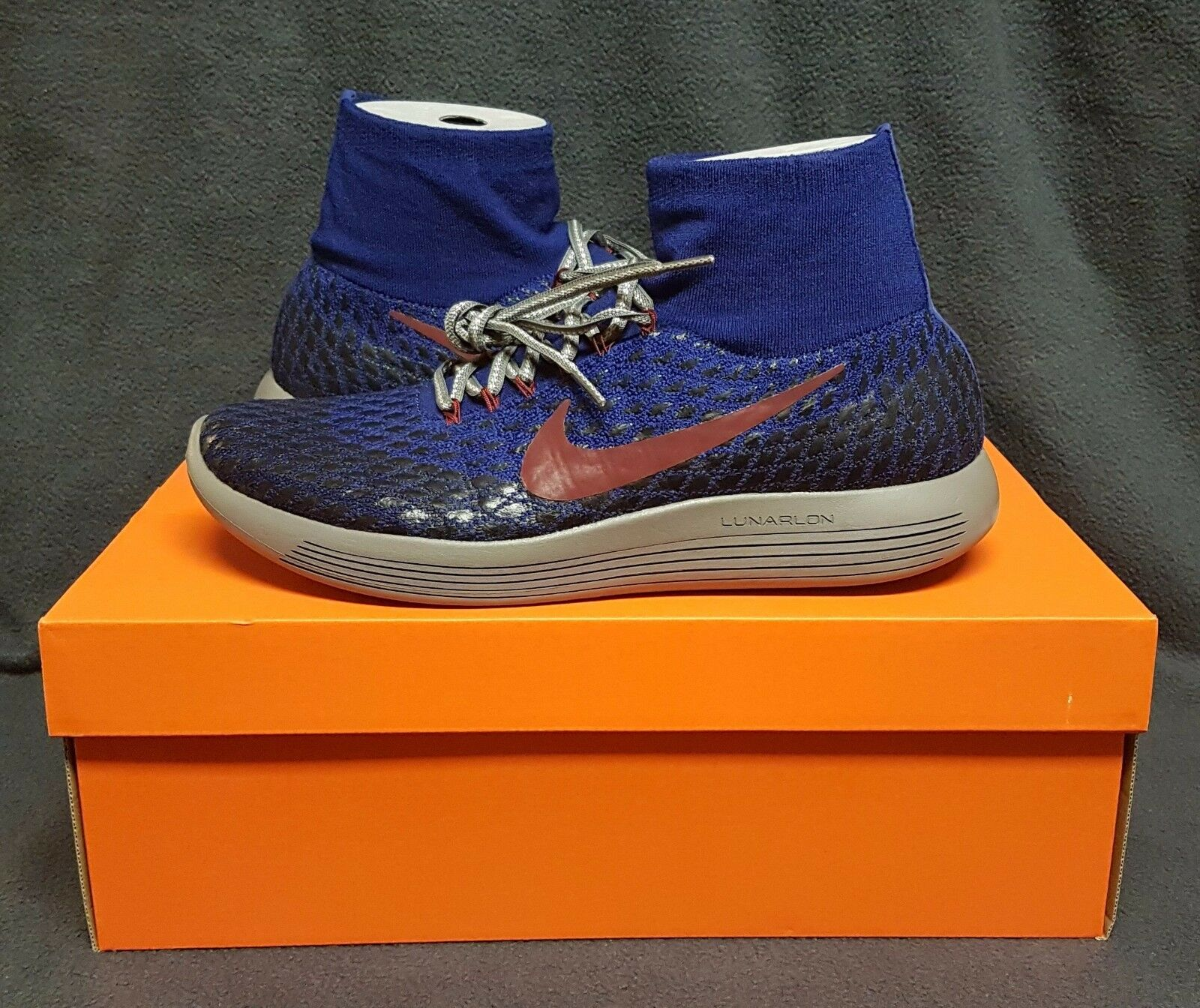 Nikelab gyakusou lunarepic flyknit scudo uomini scarpe da corsa (sz) blu / grigio