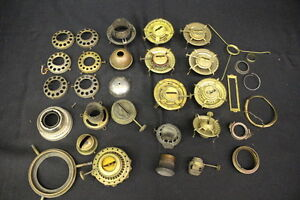 Lot of Vintage Oil Lamp Parts, Eagle,Queen Anne Burners, Ect. 30 ...