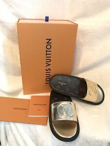 2d8473ab21 Details about NIB Louis Vuitton Monogram LOGO SUNBATH MULES FLAT Shoes 37,  US 6.5 Or 7