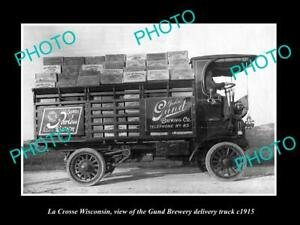 OLD-POSTCARD-SIZE-PHOTO-OF-LA-CROSSE-WISCONSIN-THE-GUND-BREWERY-TRUCK-c1915