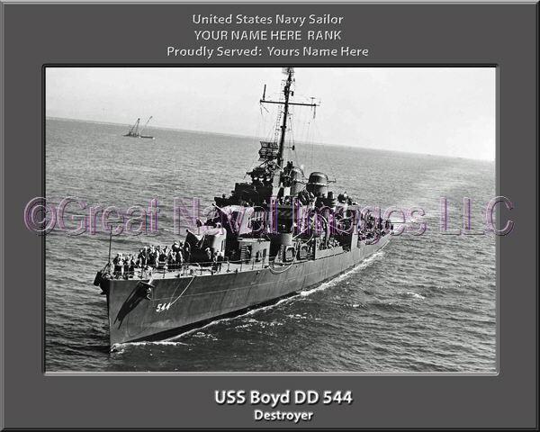 USS Boyd DD 544 Personalized Canvas Ship Photo Print Navy Veteran Gift