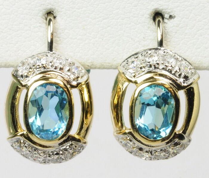 Lady 18K Y gold bluee Topaz Cubic Zirconia Dangle Estate Earrings G271258