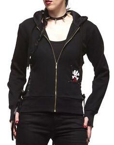 hell bunny ladies black corset hoodie sweater sweatshirt
