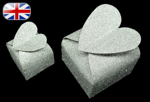 Birthday ~ Silver Glitter Baby Shower Valentines Wedding Favour Gift Boxes