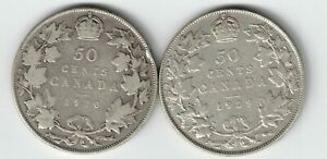 2-X-CANADA-50-CENTS-1920-NARROW-0-amp-1929-KING-GEORGE-V-800-SILVER-COINS