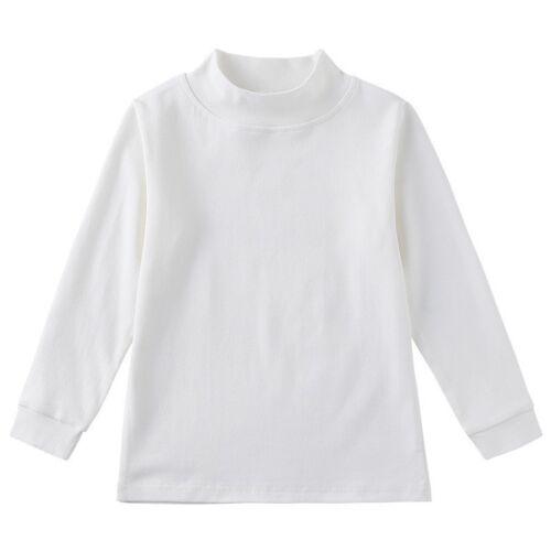 Kids Plain Tops Boys Girls  Mid Collar Long Sleeve Tee Shirt  New Ages 1-7 Years