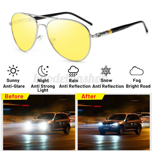 Anti Glare Night Vision Driving Glasses Polarized HD Yellow Lens Tinted For Men