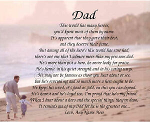 Dad My Hero Personalized Poem Memory Birthday Fathers Day Gift Ebay