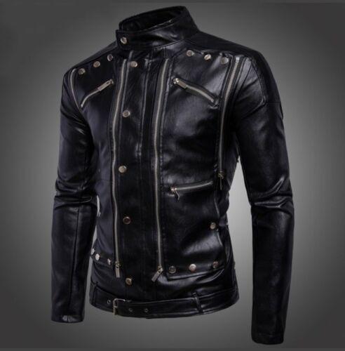 Fashion Mens Black Genuine leather Up Collar Stylish Leather Jackets