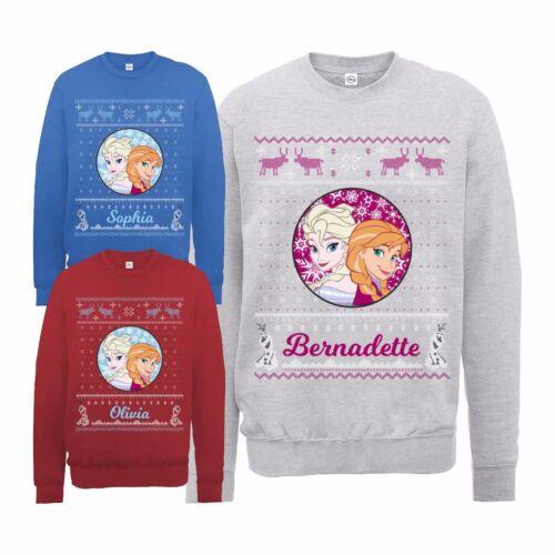 UFFICIALE Frozen da Donna Personalizzato Di Natale Elsa /& Anna Felpa