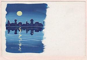 Art Drawings Fashion Style Schöne Malerei Im Ansichtskarten-formatstadt Am Meer Fluss Mond Nacht Postkarte