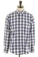 GANT Mens Shirt Medium Blue Check Cotton E-Z Fit