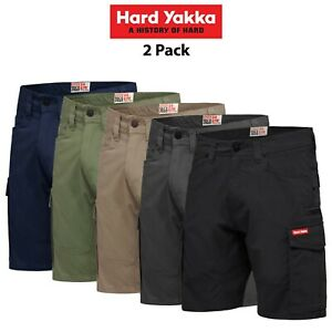 Mens-Hard-Yakka-3056-Cargo-Shorts-Cotton-Ripstop-Tradie-2PK-Tough-Stretch-Y05100