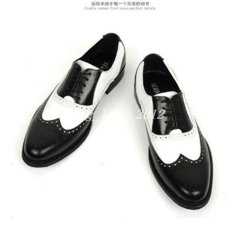 Punk Uomo British Wing Tip Carved Casual Dress Shoes Pelle Brogue Lace Up Ch8