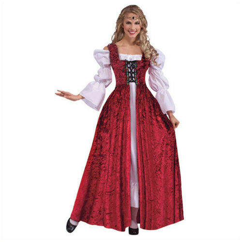 Adulto Donna Medievale Maiden Costume Rosso Bianco Chemise Tudor ac190+ac191