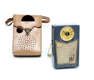 Vintage-Emerson-888-Pioneer-Transistorradio-nevabreak-Ledertasche-funktioniert-nicht