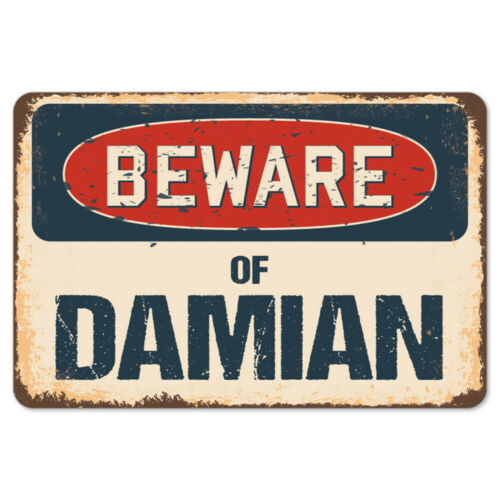 Beware Of Damian Rustic Sign SignMission Classic Rust Wall Plaque Decoration