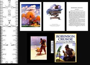 1:6 SCALE MINIATURE BOOK ROBINSON CRUSOE ILLUSTRATED N. C. WYETH PLAYSCALE