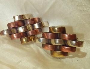VERY-COOL-Vintage-1970-039-s-Modernist-Alpaca-Copper-Dangle-Clip-On-Earrings-154ag8