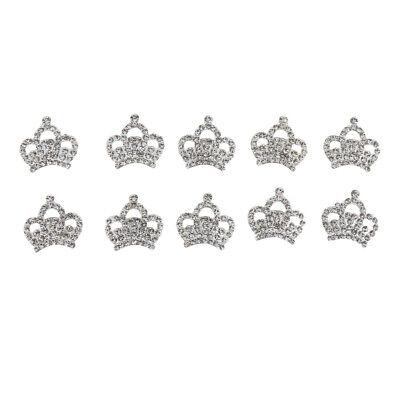 10x Silver Rhinestone Crown Kits Craft Embellishments Scrapbook Buttons