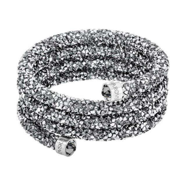 Swarovski Women's Bangle Bracelet Crystaldust Grey Wide 5292443