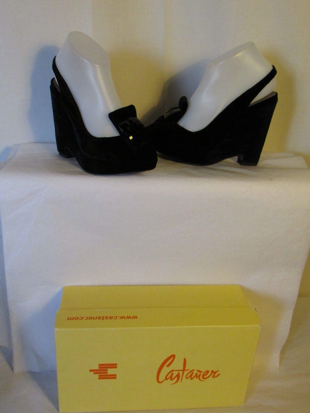 Zapatos Zapatos Zapatos de cuña CASTAÑER terciopelo negro 37  Venta en línea de descuento de fábrica