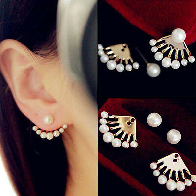 1 Pair New Fashion Women's Lady Elegant Rhinestone Pearl Ear Stud Earrings Gift