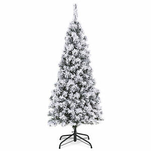BCP-Snow-Flocked-Artificial-Pencil-Christmas-Tree-w-Stand