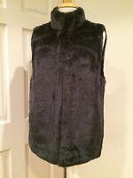 Michael Kors Faux Rabbit Fur Vest Sleeveless Jacket Real Navy L $250