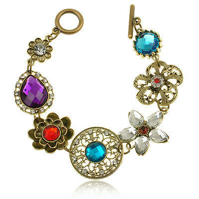 Vintage Bronze Noble Hollow Crystal 7Flower Bib Statement Celebrity Bracelets