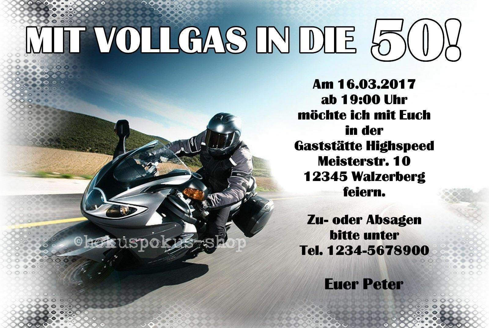50 Einladungskarten Geburtstag VOLLGAS  Motorrad Biker Einladungen jedes Alter