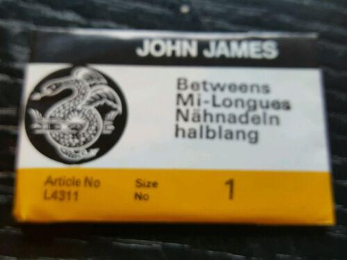 John James intermediarios buttoning aguja de coser tamaño 1 X 25 por paquete