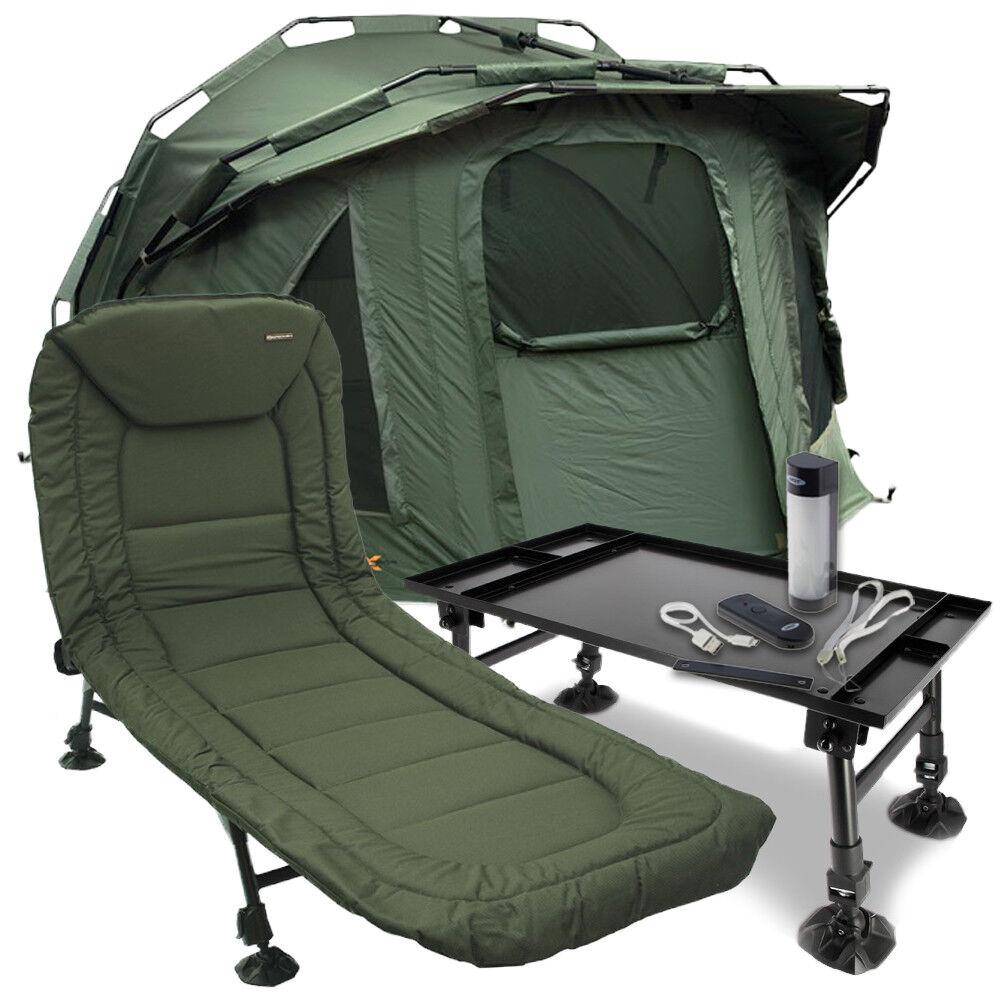 NGT Pram Hood Style Fortress Fishing Bivvy + Reclining Bedchair + Table & Light