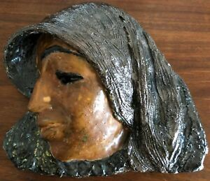 Vtg Ceramic Pottery Woman's Head Plaque Mid Century Modern Wall Hanging Retro