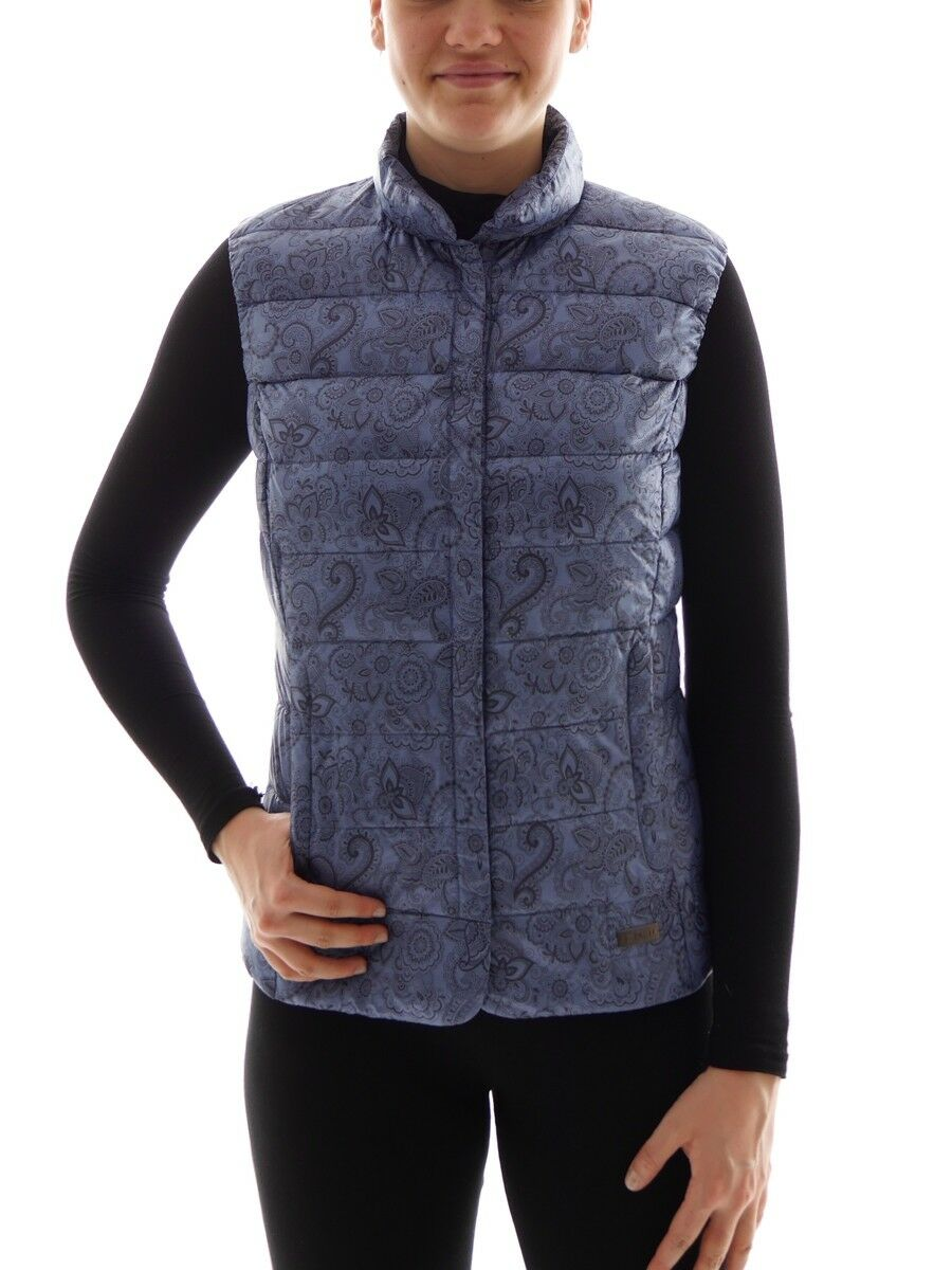 CMP down Vest Gilet Quilted Vest blue Flowers Stand up Collar Warming