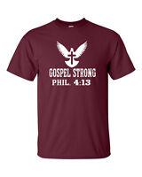 Gospel Strong Phil. 4:13 Faith Christ Conservative Christian Men's Tee Shirt