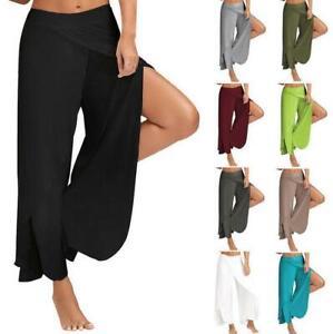 Pierna Ancha Para Mujer Con Abertura Alta Suelta De Gasa Acampanada Palazzo Pantalones Harem Pantalones De Yoga Ebay